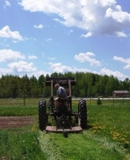 My dad mowing